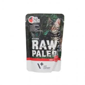 4T RAW PALEO CAT KITTEN BEEF MEAT 100G SASZETKA
