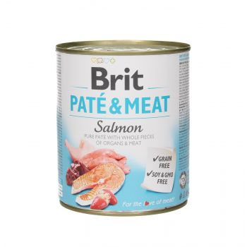 BRIT CARE PUSZKA 800G PIES PATE&MEAT SALMON
