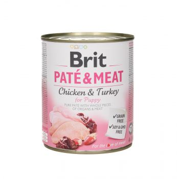 BRIT CARE PUSZKA 800G PIES PATE&MEAT PUPPY CHICKEN & TURKEY