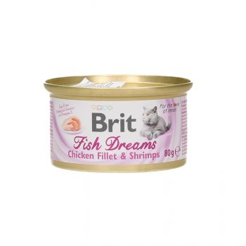 BRIT CAT FISH DREAMS CHICKEN FILLET & SHRIMPS 80G