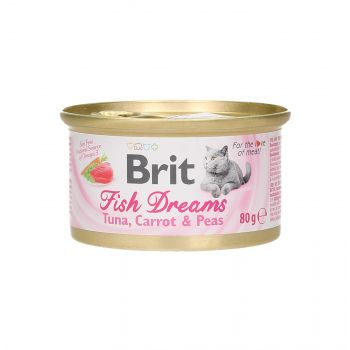 BRIT CAT FISH DREAMS TUNA, CARROT & PEA 80G