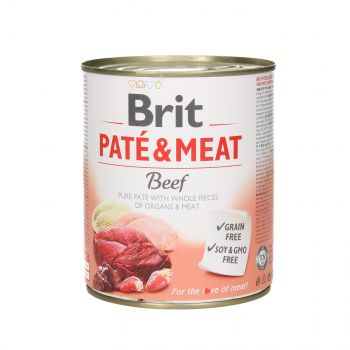 BRIT CARE PUSZKA 800G PIES PATE&MEAT BEEF