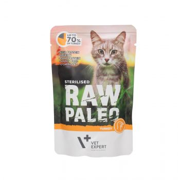 4T RAW PALEO CAT STERILISED TURKEY MEAT 100G SASZETKA