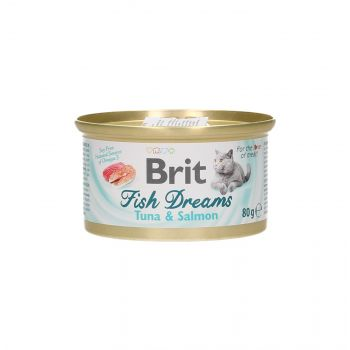 BRIT CAT FISH DREAMS TUNA & SALMON 80G